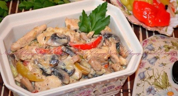 Рецепт курица в сливках с шампиньонами